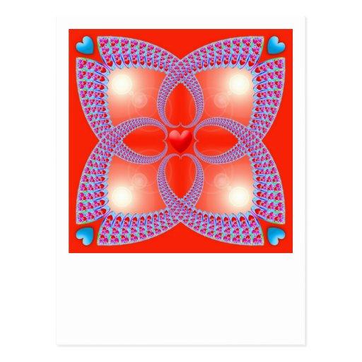 Red Celtic Heart Fractal Pattern Postcard