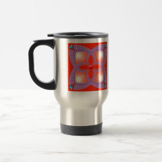 Red Celtic Heart Fractal Pattern Travel Mug