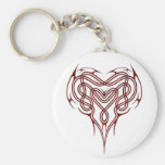 Red Celtic Heart Knot Basic Round Button Key Ring