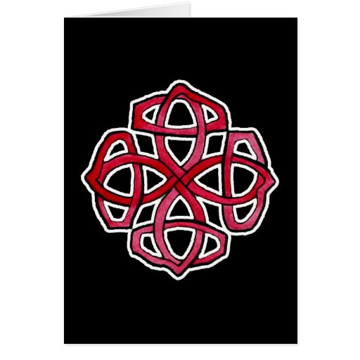 Red Celtic Knotwork Circle Greeting Card