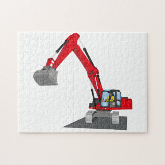 red chain excavator jigsaw puzzle