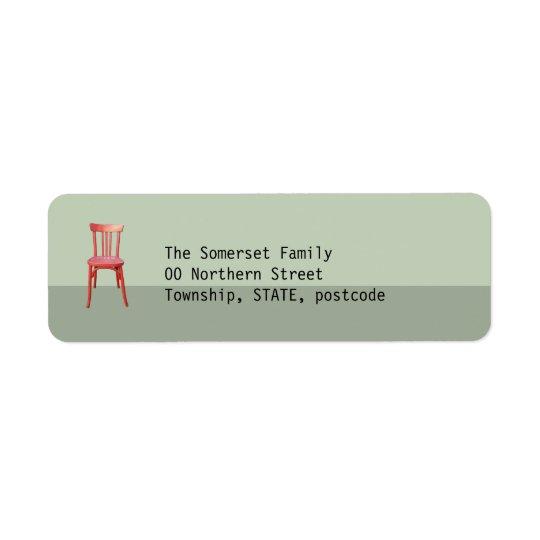 Red Chair green Return Address Label