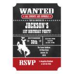 Red Chalkboard Cowboy Birthday Invitation