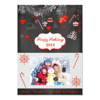 Red Chalkboard Flat Happy Holidays Photo Card Custom Announcement