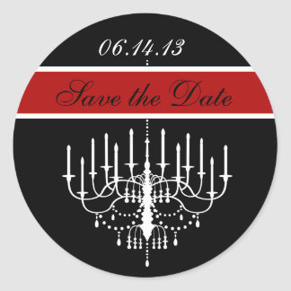 Red Chandelier Save the Date Stickers