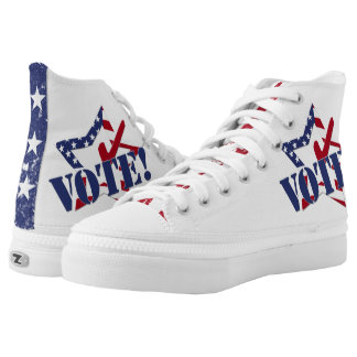Red Check Blue VOTE with US Flag Star Printed Shoes