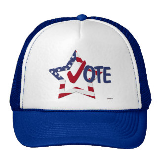 Red Check VOTE with US Flag Star Trucker Hats