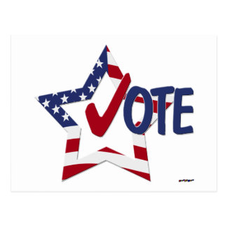 Red Check VOTE with US Flag Star Postcard