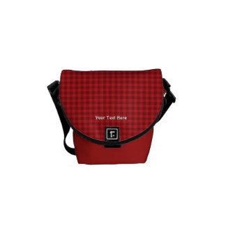 Red Checked Mini Messenger Bag