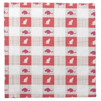 Red Checkerboard Cat Pattern Napkin