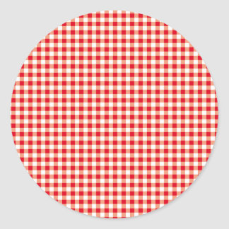 Red checkered, just squares round stickers