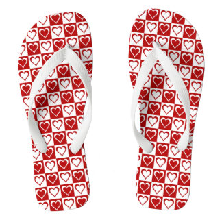 Red Checkered pattern with Hearts Flip Flops