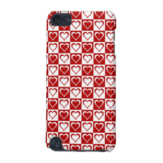 Red Checkered pattern with Hearts iPod Touch 5G Covers