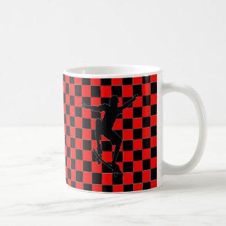red checkered skateboarder clip art coffee mug