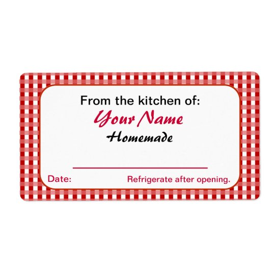 Red Checks Personalised Pickle Canning Jar Labels