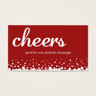 Red cheer bubble wedding custom bar drink ticket