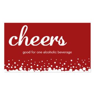 Red cheer bubble wedding custom bar drink ticket pack of standard business cards
