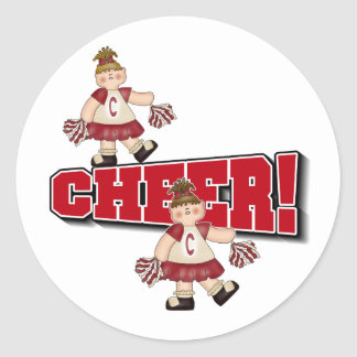 Red Cheerleader Classic Round Sticker