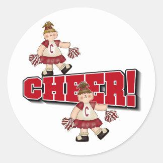 Red Cheerleader Classic Round Sticker