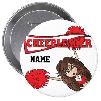 Red Cheerleader Girl   Personalize 10 Cm Round Badge