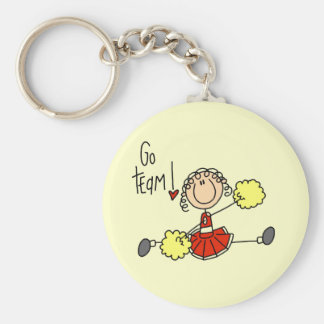 Red Cheerleader T-shirts and Gifts Basic Round Button Key Ring