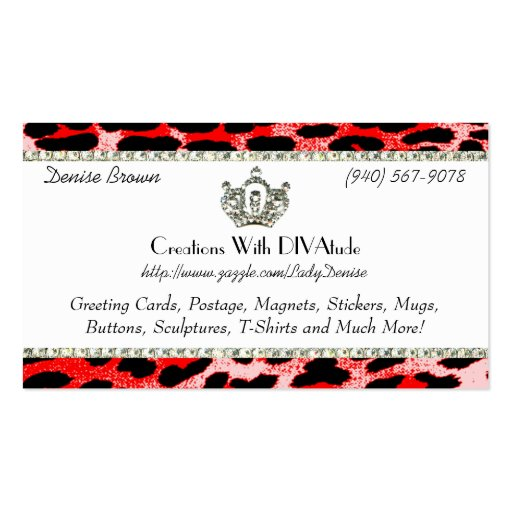 Red Cheetah Print Business Cards