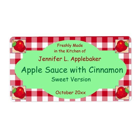 Red Chequerboard and Apple Canning Jar Label