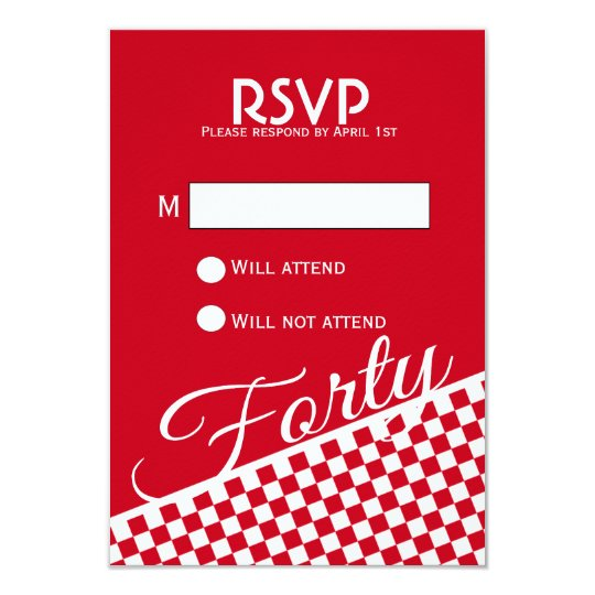Red Chequered Pattern 40th Birthday RSVP Card