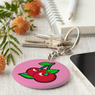 Red Cherries for cherry pickers on light purple Basic Round Button Key Ring
