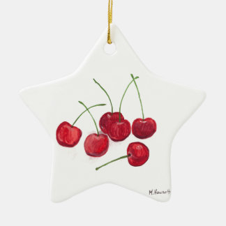 Red cherries fruit christmas ornament