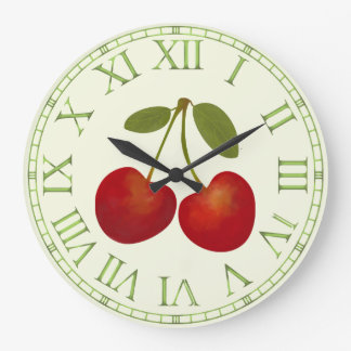 Red Cherries fruits Large Clock
