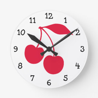 Red Cherries Round Clock