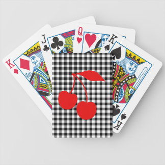 Red Cherries with Black Gingham Bicycle Playing Cards
