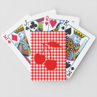 Red Cherries with Gingham Bicycle Playing Cards