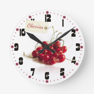 Red Cherries with Tag Clock
