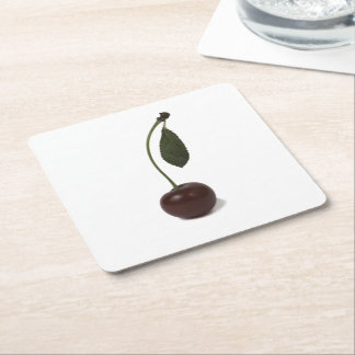 Red cherry berry square paper coaster