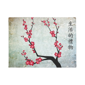 "Red cherry blossom ""Gift of life"" Doormat"