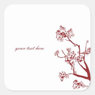 Red Cherry Blossom Oriental Wedding Stickers