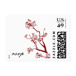 Red Cherry Blossom Wedding RSVP Postage Stamps