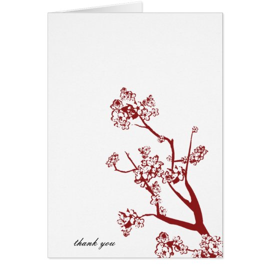 Red Cherry Blossom Wedding Thank You Cards
