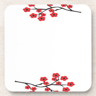 Red Cherry Blossoms Cork Coaster