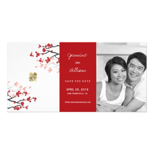 Red Cherry Blossoms Double Happiness Save The Date Photo Cards