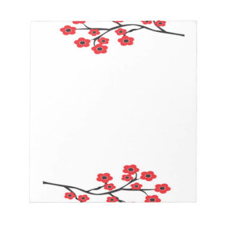 Red Cherry Blossoms Notepad