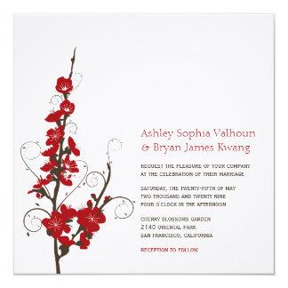 Red Cherry Blossoms Sakura Swirls Wedding Invite