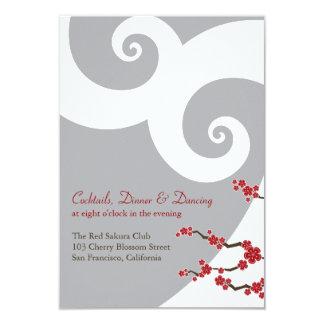 Red Cherry Blossoms Sakura Swirls Wedding Receptio 9 Cm X 13 Cm Invitation Card