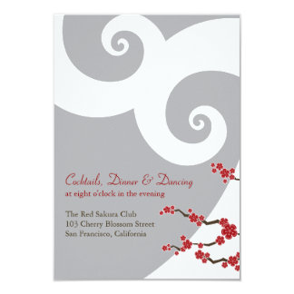 Red Cherry Blossoms Sakura Swirls Wedding Receptio Card