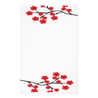 Red Cherry Blossoms Stationery
