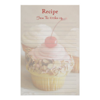 Red Cherry Cupcake Lined Recipe Stationery