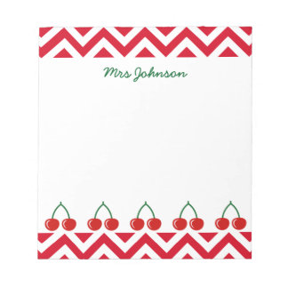 Red cherry notepad for teacher | Personalized name