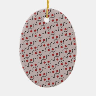 Red Cherry Pattern Ceramic Oval Decoration